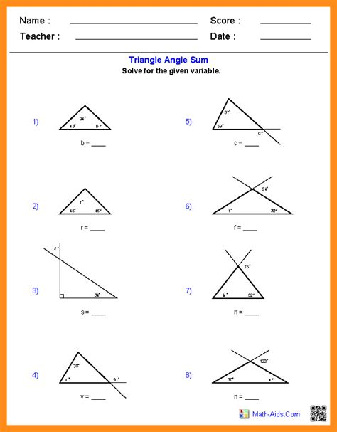 worksheet triangle sum and exterior angle theorem triangle sum theorem worksheet homeschooldressage