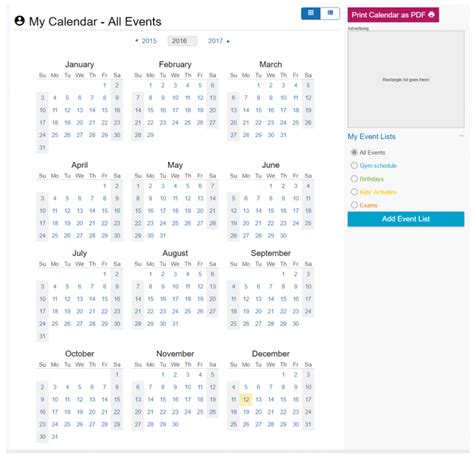 Timeanddate Calendar Adding Personal Events To Printable Pdf Calendar