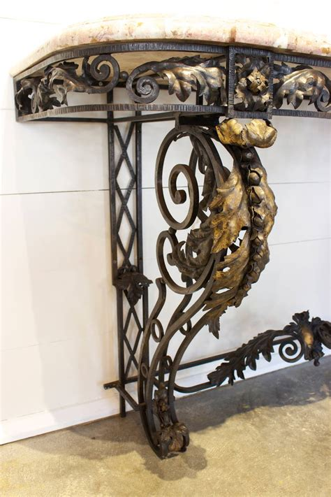 Wrought Iron Console Table Wrought Iron And Marble Top Console Table At 1stdibs