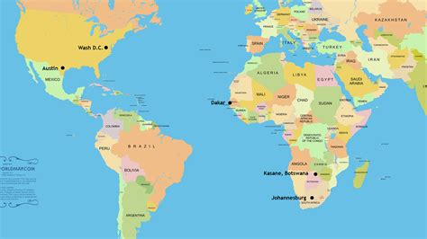 washington dc in world map map from johannesburg to botswana