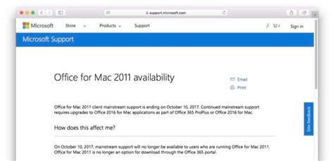 office for mac 2011 updated to support office 365 home premium microsoft 本日2017年10月10日で office for mac 2011 のサポートを終了