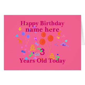 Happy Birthday Cards With Name And Photo 3 Year Old Birthday Cards Invitations Zazzle Co Uk