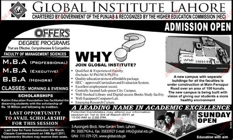 Mba Admission Open by Admission Open In Global Institute Lahore 2018