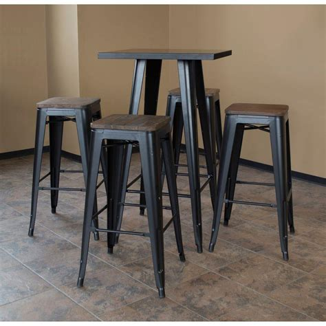 elm bar table amerihome loft style metal bar table set in black with