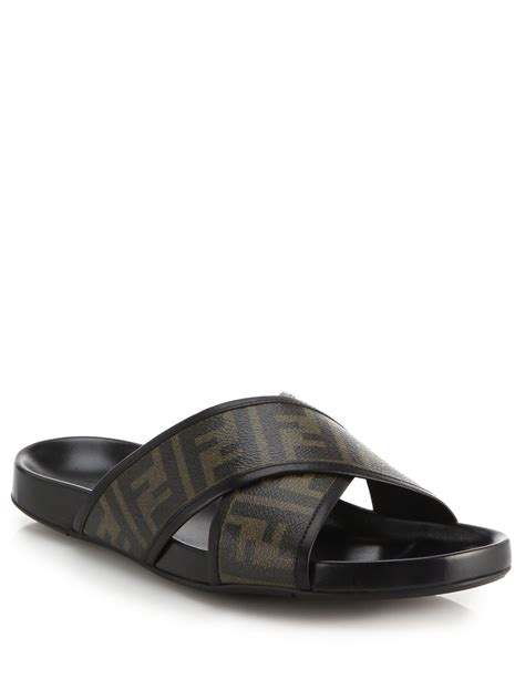 fendi sandals mens fendi zucca logo criss cross sandals in brown for lyst