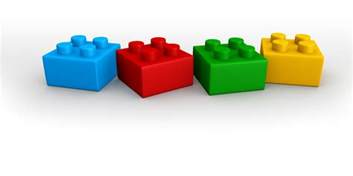 blue red green yellow lego blocks in line stock photo