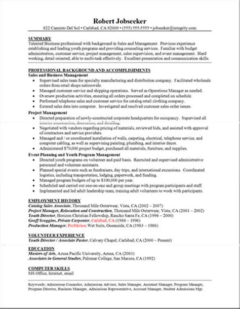 Resume Business Accomplishments Resume Exles Professional Background And