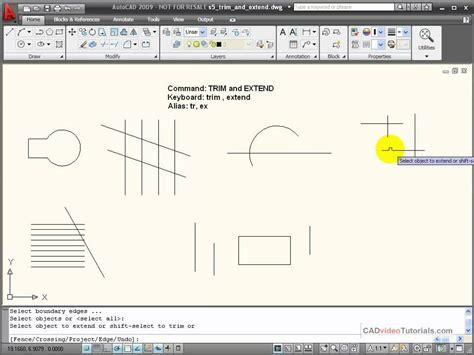autocad tutorial trim command autocad tutorial using trim and extend youtube