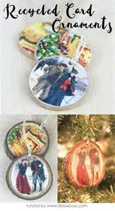 recycle cards crafts recycled card ornaments hackshaw lil