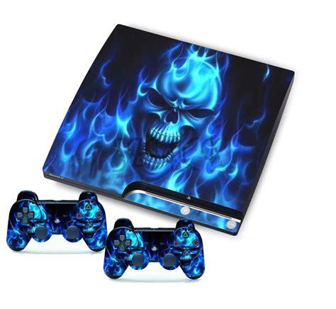 Skin Playstation 3ps3 Custom for playstation 3 slim ps3 console controller skins blue skull sticker ebay