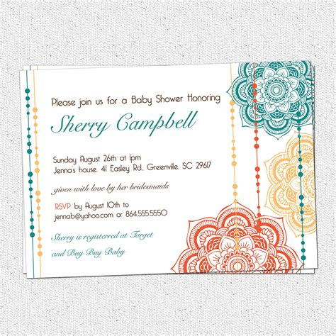 Printable Moroccan Baby Shower Invitation Floral Elegant Moroccan Invitations Templates