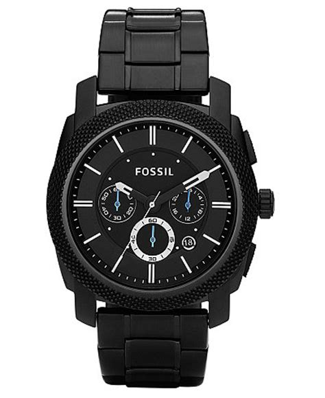 Fossil Black fossil s chronograph machine black stainless steel