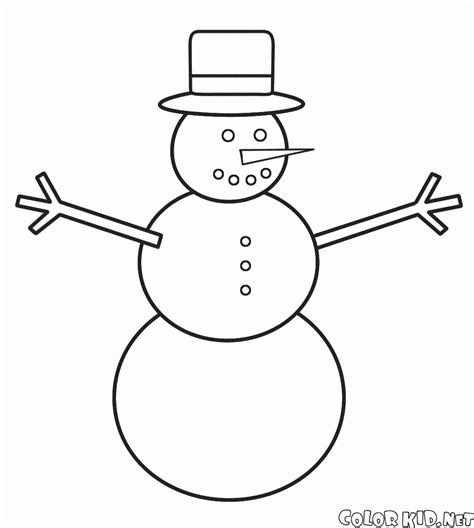 coloring page snowman wearing  scarf  hat