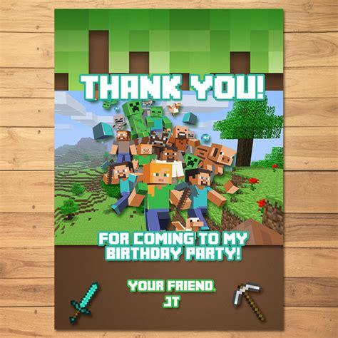minecraft printable thank you cards minecraft thank you card green blocks monkstavern