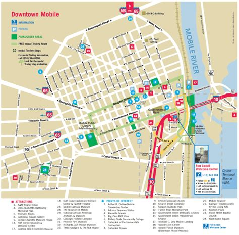 mobile attractions maps update 8001065 alabama tourist attractions map