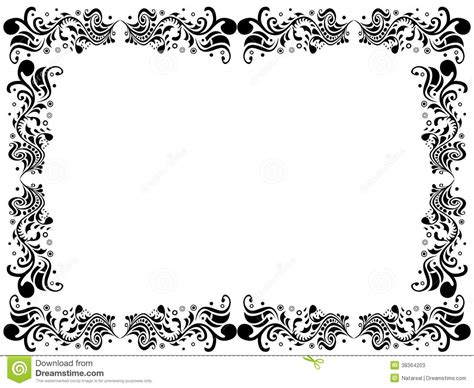 wallpaper border black and white flowers black and white blank border with floral elements stock