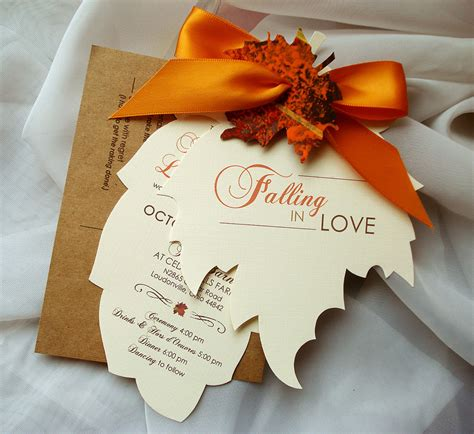 Leaf Themed Wedding Invitations by Fall Wedding Invitations Autumn Wedding Invitations Leaf