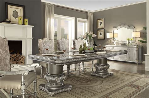 luxury double pedestal  piece dining room set  homey