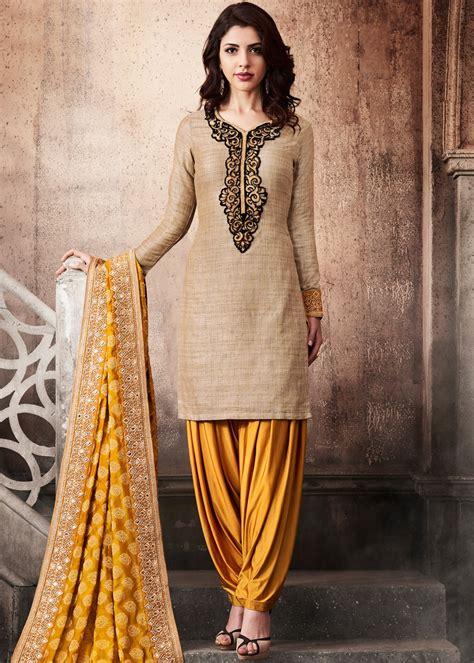 Salwar Kameez Beige beige khadi silk punjabi salwar suit with dupatta salwar