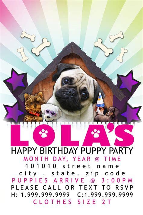 Child S Puppy Party Invitation 4x6 Template Print At Home 8 00 Via Etsy Sarina Birthday Puppy Invitation Template