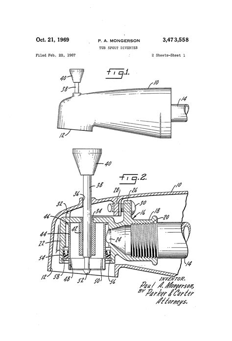 what is a google diverter patent us3473558 tub spout diverter google patents