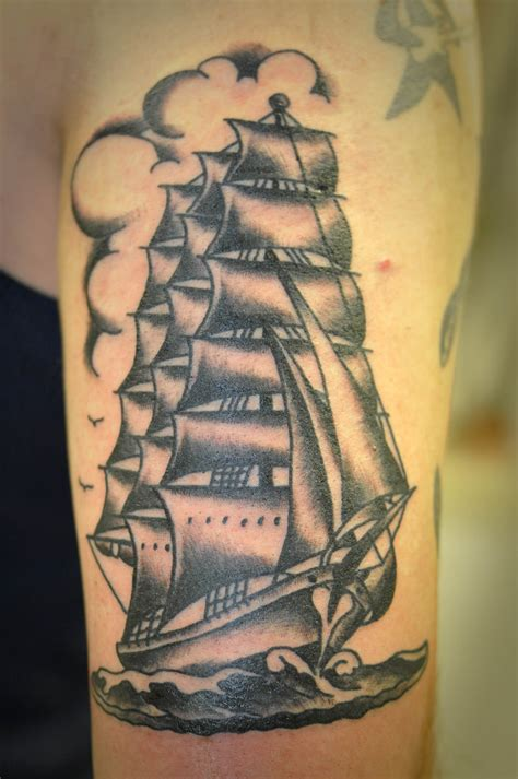 black and grey traditional clipper ship tattoo by keelhaul