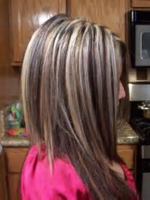 chunky hair color photo of platinum hair with brown chunky lowlights