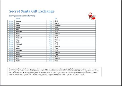secret santa list template invitation template