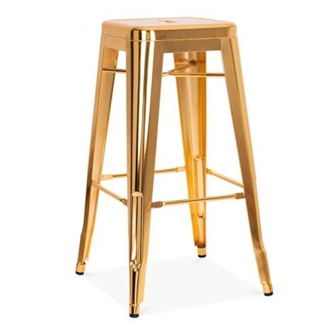 tolix metal bar stools gold 75cm tolix style industrial stool cult furniture uk