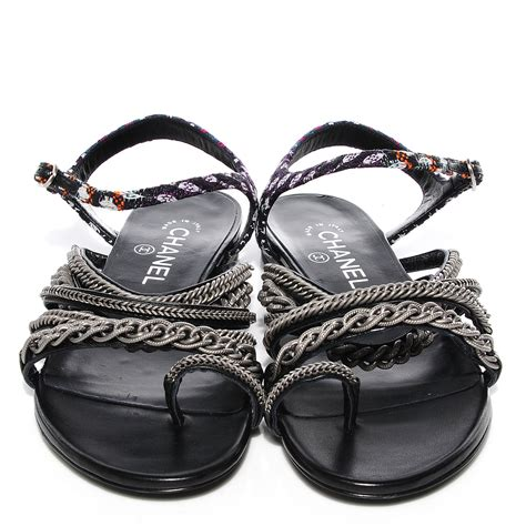 chain flat sandals chanel tweed chain flat sandals 38 black 90869