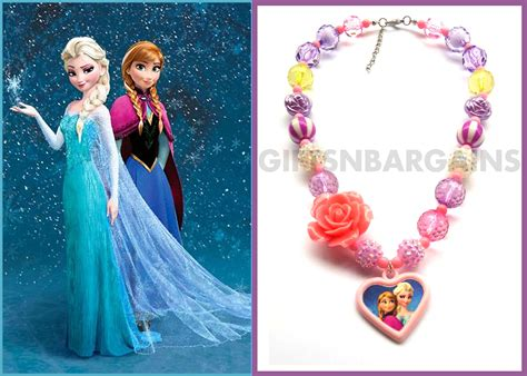 Chunky Bead Frozen Purple Combination With Pink frozen necklace elsa pendant purple