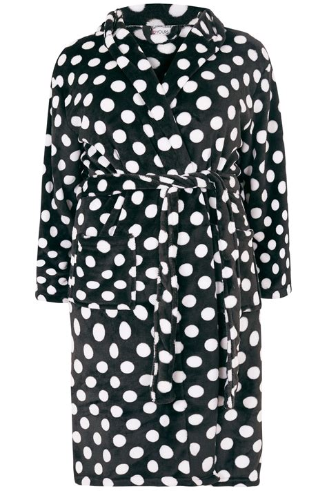 dot js template black white polka dot dressing gown plus size 16 to 36