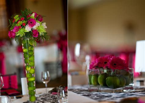 Lime green and hot pink wedding reception decor and