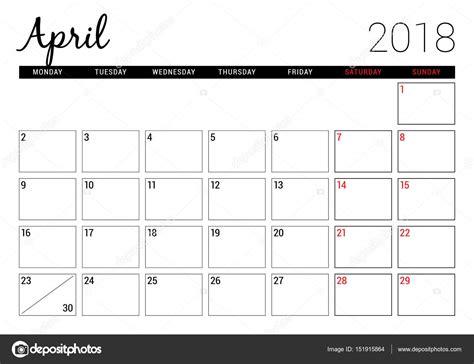 Calendario 2018 Aprile April 2018 Printable Calendar Planner Design Template