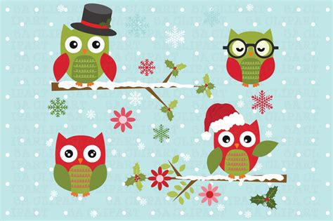 christmas owl pictures owl clipart illustrations on creative market