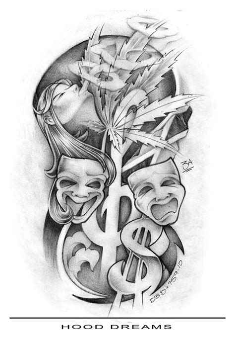 hood tattoo designs gangster tattoos drawings studio design gallery