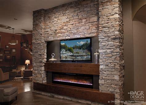 custom stone fireplace tv wall s d m custom finish stacked stone media wall design by dagr design