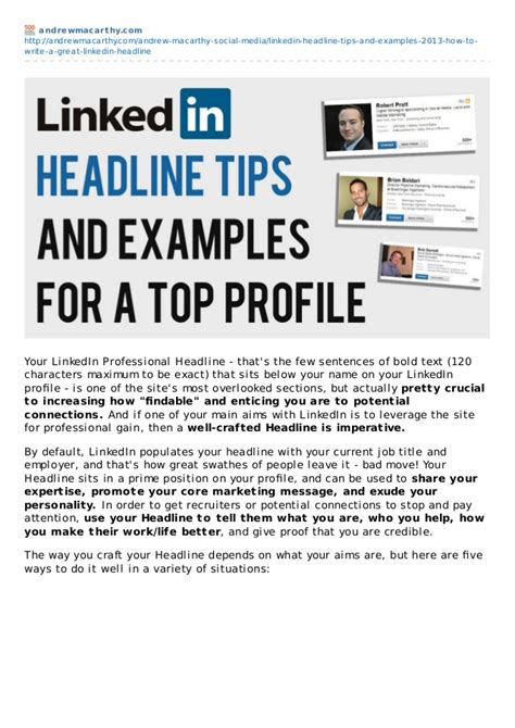 Linkedin Headline Tips For Recent Mba by Linkedin Headline Tips And Exles 2013 How To Write A