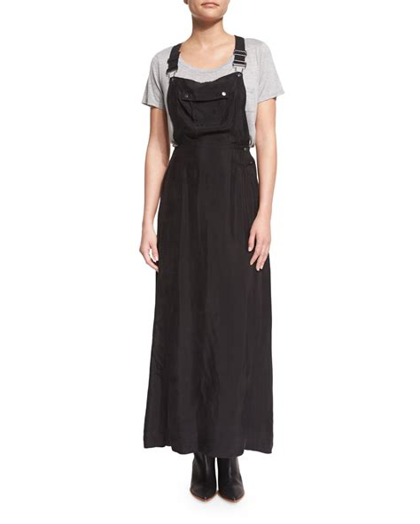 Ovrel Maxi frame le cupro overall maxi dress in black noir lyst