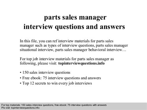 parts sales manager questions and answers