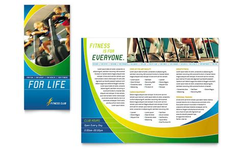 sports brochure templates free sports health club brochure template design