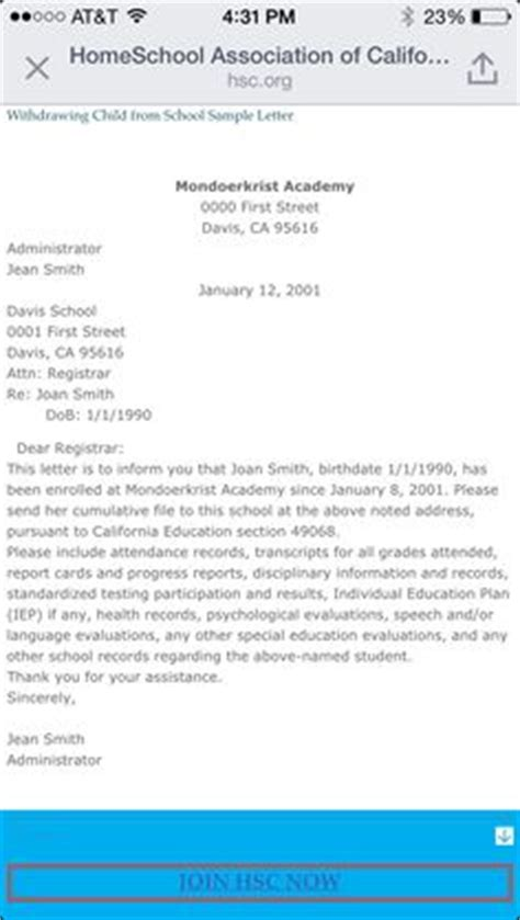 Retroactive Withdrawal Letter Exle You Ll Need A School Withdrawal Letter If You Want To Homeschool A Child Who Is Already