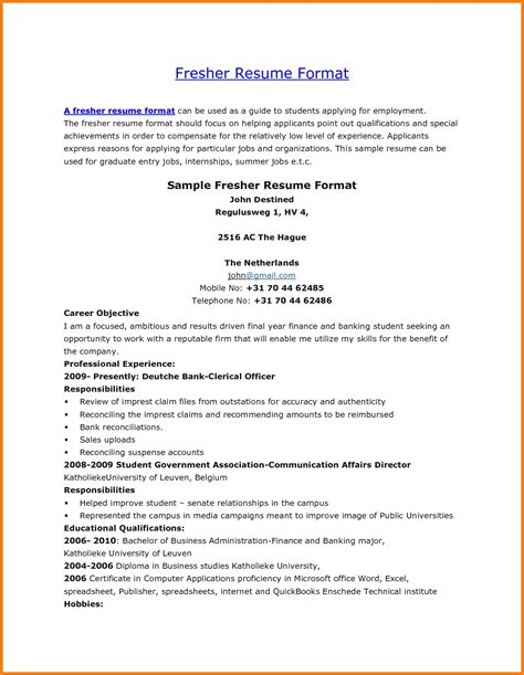 resume format for staff freshers sap fico fresher resume resume ideas