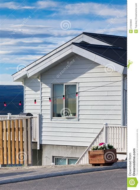 white siding house white siding icelandic house stock photography image 27933802