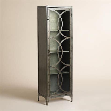 Wall Curio Display Cabinet Silver Metal And Glass Half Circle Eriksen Curio Cabinet