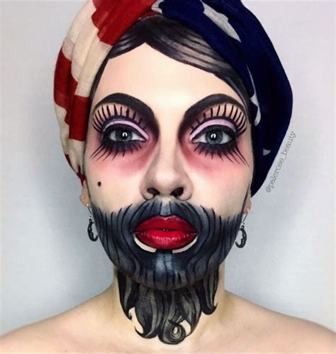 bearded lady tattoo bearded freakshow circus traditional