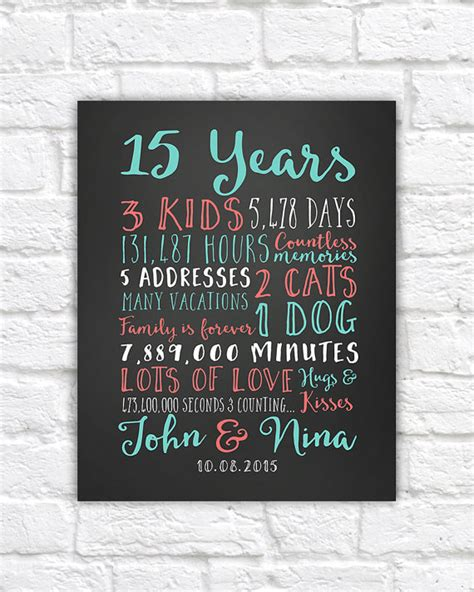 gifts for a 15 year wedding anniversary gifts paper canvas 15 year anniversary