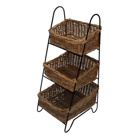 buy wicker valley vegetable rack with three rattan baskets