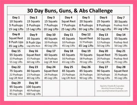 fitness challenge exercises printable 30 day fitness challenge calendar template 2016