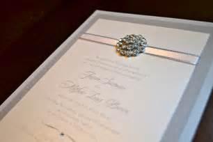 silver and white rhinestone wedding invitation by nladegaard